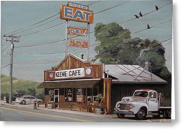 Road Trip Paintings Greeting Cards - Eat Greeting Card by Steve Beaumont