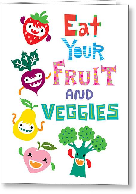 Andi Bird Greeting Cards - Eat Your Fruit and Veggies Greeting Card by Andi Bird