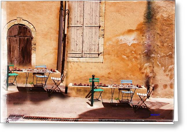 Table Greeting Cards - eating area in rural France Greeting Card by KJ DePace