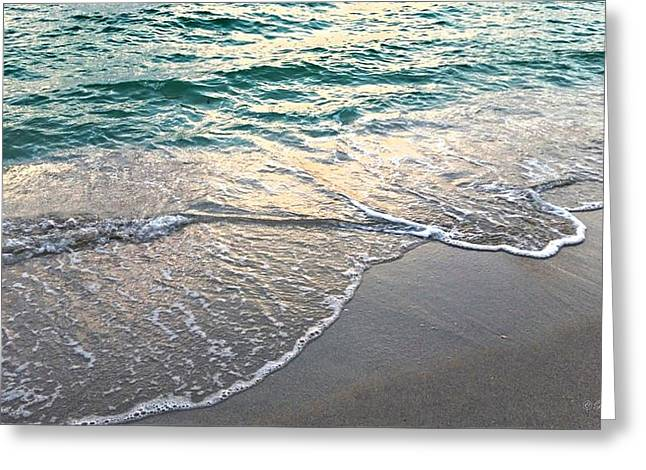 Blue Green Water Greeting Cards - Ebb Tide Sunset Greeting Card by Barbara Chichester