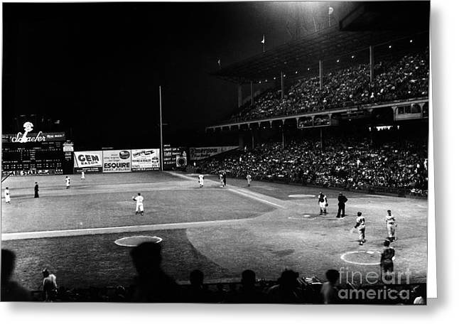 Scoreboard Greeting Cards - Ebbets Field, 1957 Greeting Card by Granger