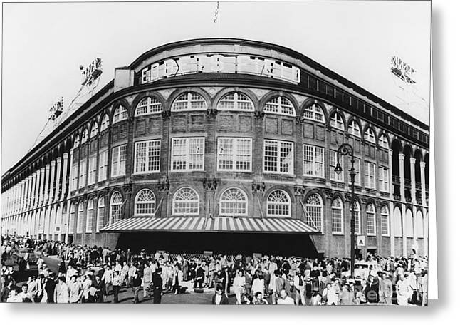 Baseball Stadiums Greeting Cards - Ebbets Field, Brooklyn, Nyc Greeting Card by Photo Researchers