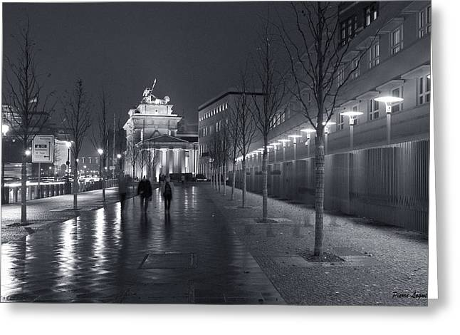 Ebertstrasse And The Brandenburg Gate Greeting Card by Pierre Logwin