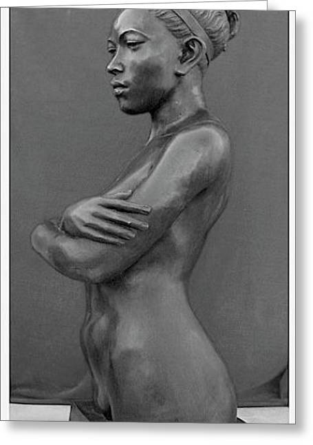 Stronger Sculptures Greeting Cards - Ebony Venus Greeting Card by Curtis James