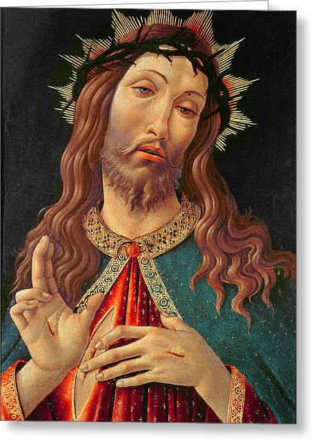 Ecce Paintings Greeting Cards - Ecce Homo or The Redeemer Greeting Card by Botticelli