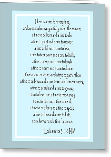 Bible Greeting Cards - Ecclesiastes Greeting Card by Trudy Clementine