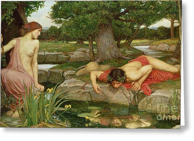 Mirrored Greeting Cards - Echo and Narcissus Greeting Card by John William Waterhouse