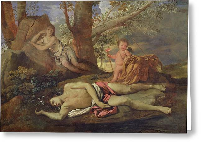 Poussin; Nicolas (1594-1665) Greeting Cards - Echo and Narcissus  Greeting Card by Nicolas Poussin
