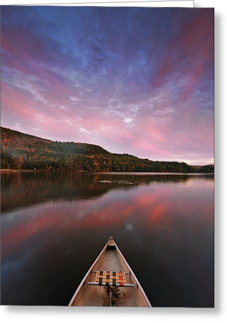 Canoe Photographs Greeting Cards - Echo Lake Sunset Greeting Card by Joseph Rossbach