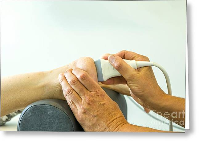 Medical Greeting Cards - Echo to check for heel spur Greeting Card by Patricia Hofmeester