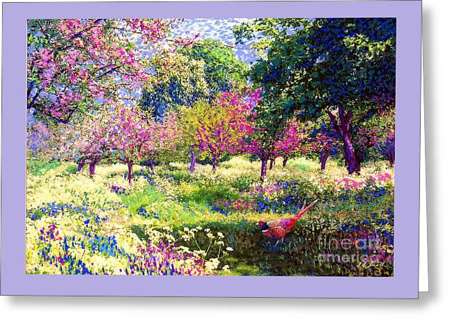 Echoes From Heaven, Spring Orchard Blossom And Pheasant Greeting Card by Jane Small