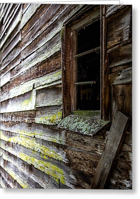 Cabin Window Photographs Greeting Cards - ECHOES of TIME Greeting Card by Karen Wiles