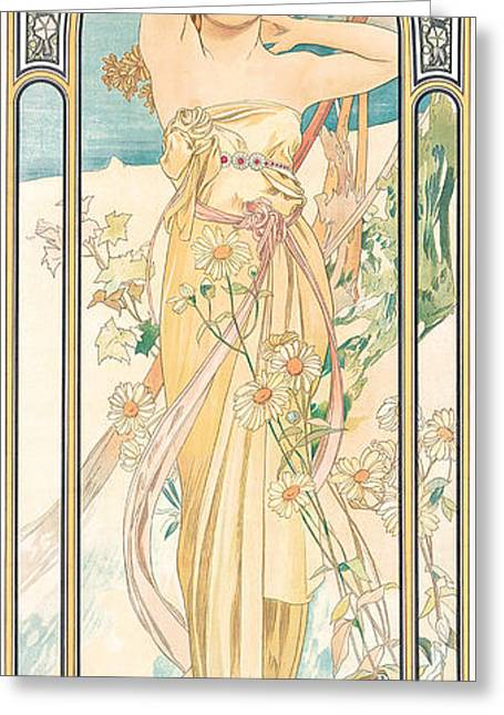 Figure Pose Greeting Cards - Eclat du Jour Greeting Card by Alphonse Marie Mucha