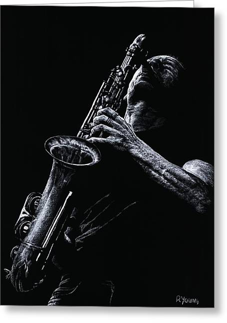 Celebrities Pastels Greeting Cards - Eclectic Sax Greeting Card by Richard Young
