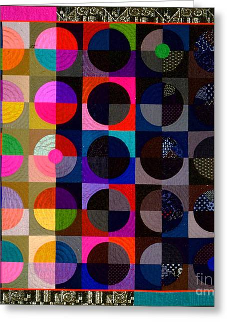 Abstract Quilt Tapestries - Textiles Greeting Cards - Eclipse Greeting Card by Marilyn Henrion