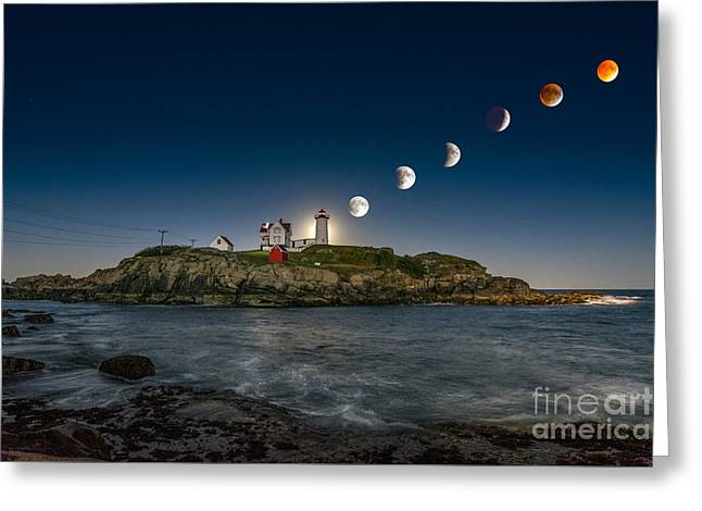 Nubble Greeting Cards - Eclipsing the Nubble Greeting Card by Scott Thorp