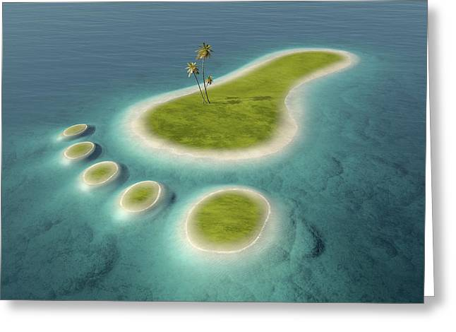 Eco Footprint Shaped Island Greeting Card by Johan Swanepoel