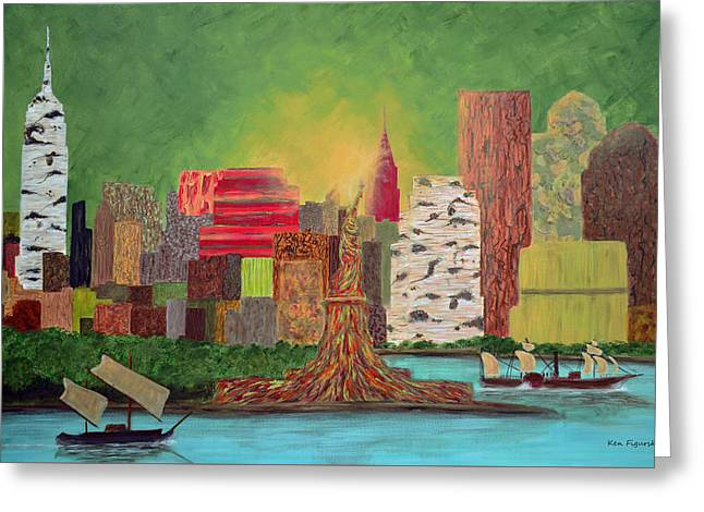 Freedom Park Paintings Greeting Cards - Eco Manhattan Greeting Card by Ken Figurski
