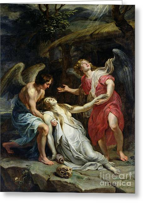 Trance Greeting Cards - Ecstasy of Mary Magdalene Greeting Card by Peter Paul Rubens