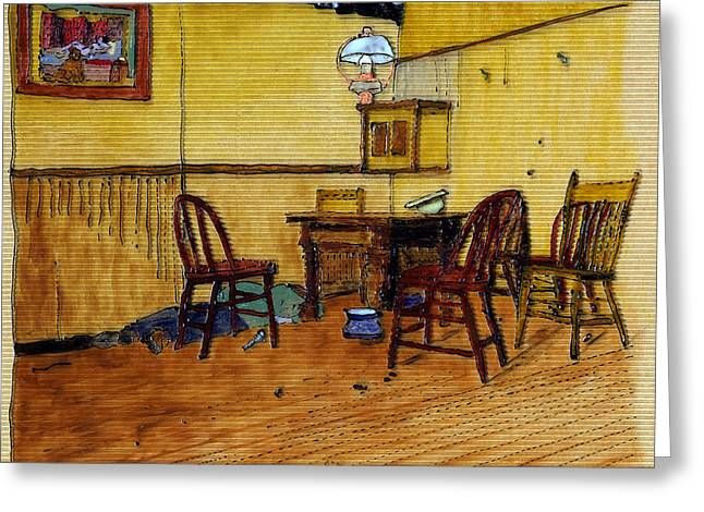 Saloons Paintings Greeting Cards - Ed is Dead at Morgans Saloon Greeting Card by Phil Strang