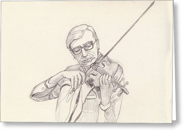 Ed Rudnick - Violin Greeting Card by Fred Jinkins