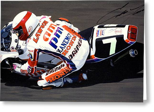 Honda Rvf750 Greeting Cards - Eddie Lawson - Suzuka 8 Hours Greeting Card by Jeff Taylor