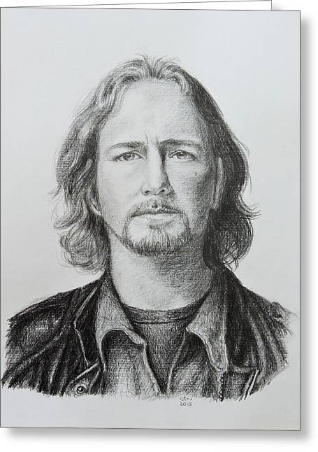 Famous Person Drawings Greeting Cards - Eddie Vedder Greeting Card by Carina Povarchik