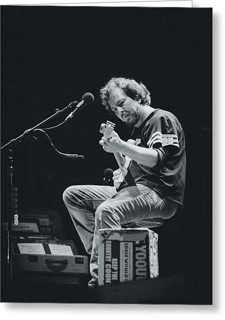 Eddie Vedder Playing Live Greeting Card by Marco Oliveira