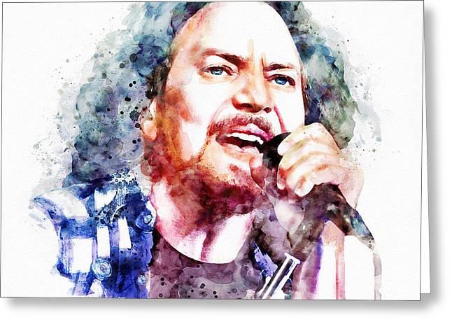 Pearl Jam Prints Greeting Cards - Eddie Vedder watercolor Greeting Card by Marian Voicu