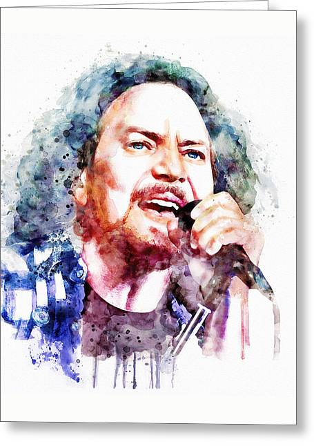 Pearl Jam Greeting Cards - Eddie Vedder watercolor Greeting Card by Marian Voicu