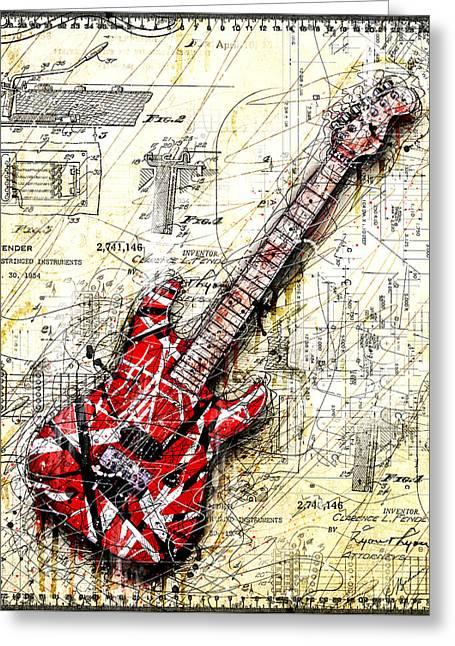 Eddie's Guitar 3 Greeting Card by Gary Bodnar