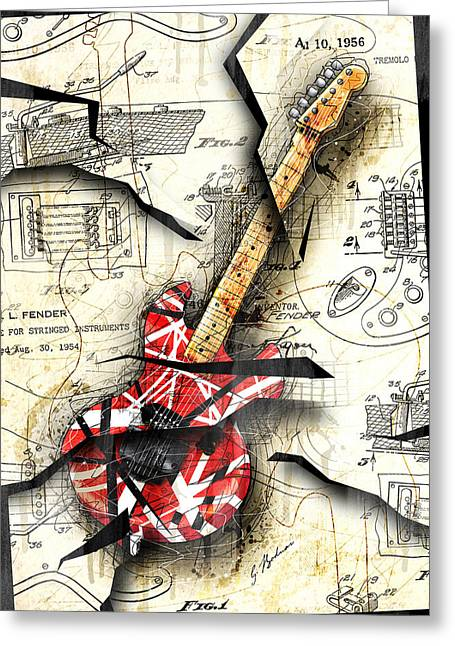 Stratocaster Greeting Cards - Eddies Guitar Greeting Card by Gary Bodnar