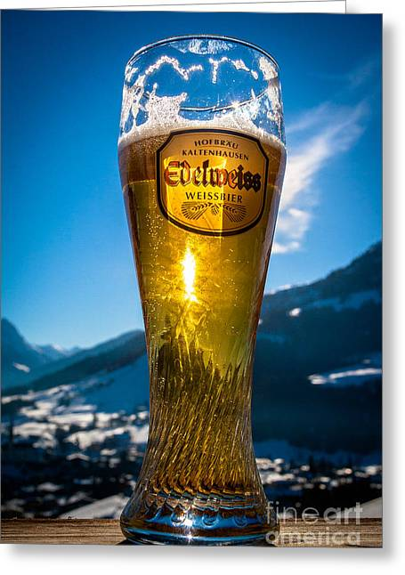 Edelweiss Beer In Kirchberg Austria Greeting Card by John Wadleigh