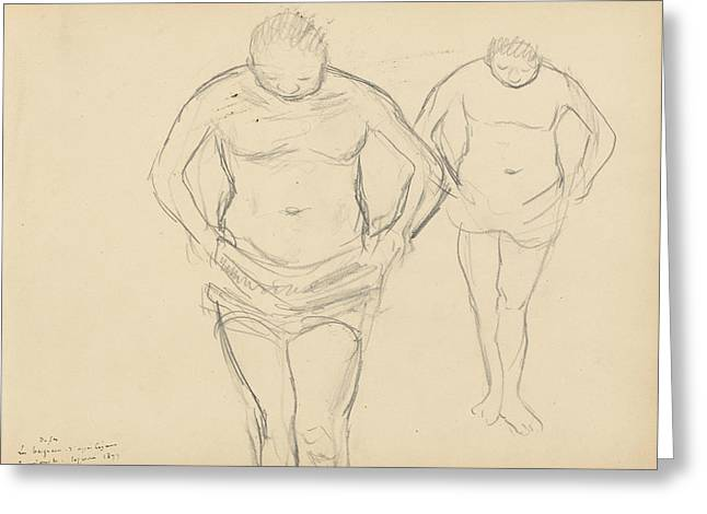 Copies Of Cezanne's Bathers Greeting Card by Edgar Degas