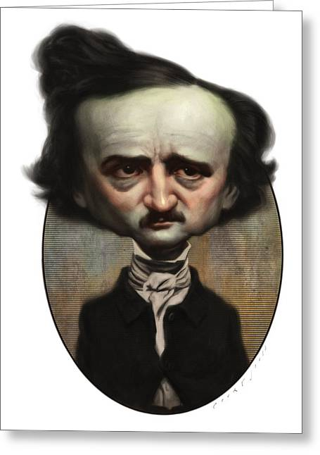 Edgar Allan Poe Greeting Cards - Edgar Allan Poe Greeting Card by Court Jones