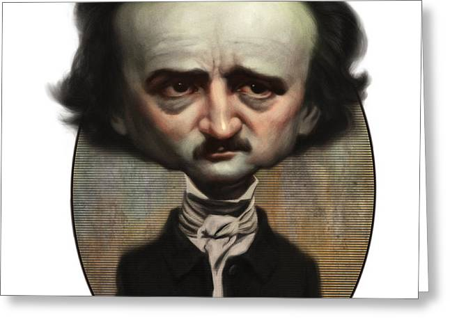 Edgar Allan Poe Greeting Card by Court Jones