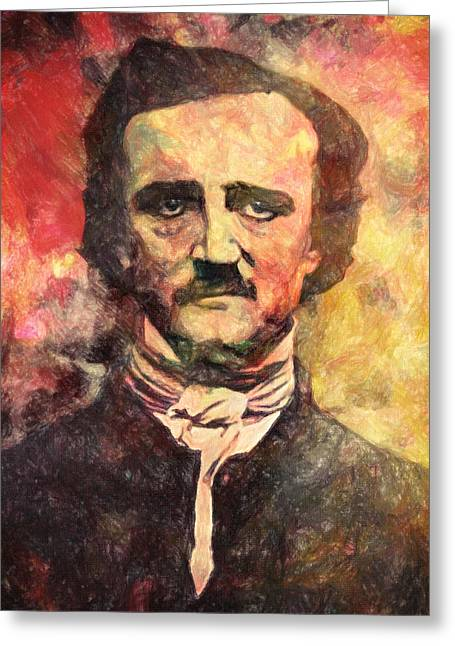Romantic Movement Greeting Cards - Edgar Allan Poe Greeting Card by Taylan Soyturk