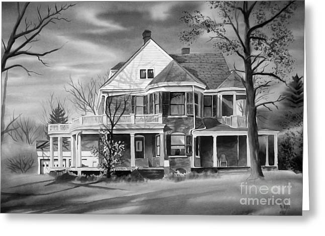 """haunted House"" Mixed Media Greeting Cards - Edgar Home BW Greeting Card by Kip DeVore"