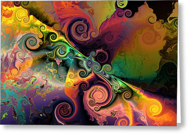 Colorful Abstract Algorithmic Contemporary Greeting Cards - Edge of encounter Greeting Card by Claude McCoy