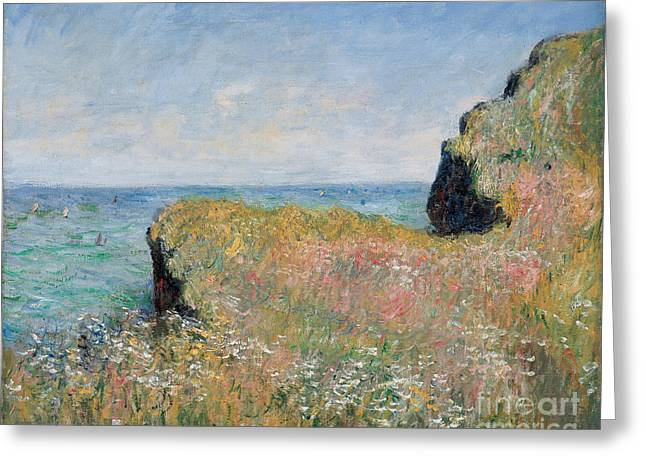 Cliffs Paintings Greeting Cards - Edge of the Cliff Pourville Greeting Card by Claude Monet