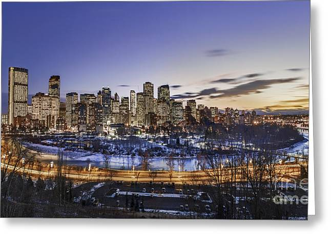 Highway Lights Greeting Cards - Edge Of The Night Greeting Card by Evelina Kremsdorf
