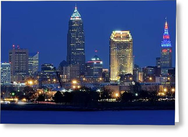 Town Square Greeting Cards - Edgewater View Pano of Cleveland Greeting Card by Frozen in Time Fine Art Photography