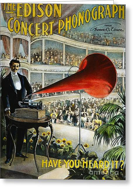 Edison Phonograph Ad, 1899 Greeting Card by Granger