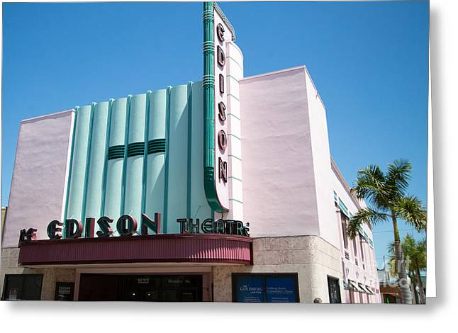 Edison Greeting Cards - Edison Theater Fort Myers Fl Greeting Card by Darrell Hutto