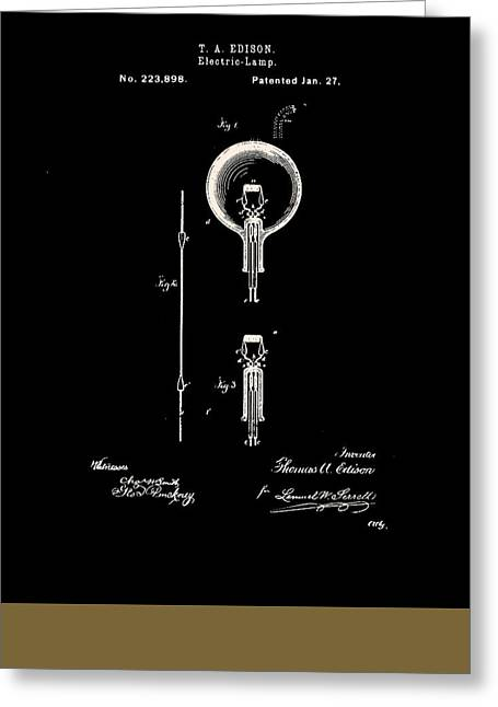 Edison Greeting Cards - Edisons Original Patent for the Electric Lamp Greeting Card by Claire  Doherty