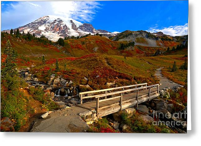 Edith Creek Bridge Landscape Greeting Card by Adam Jewell