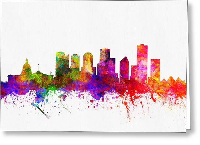 Edmonton Greeting Cards - Edmonton Alberta skyline color02 Greeting Card by Aged Pixel