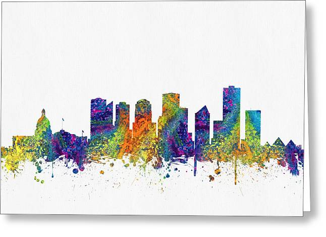 Edmonton Greeting Cards - Edmonton Alberta Skyline Color03 Greeting Card by Aged Pixel