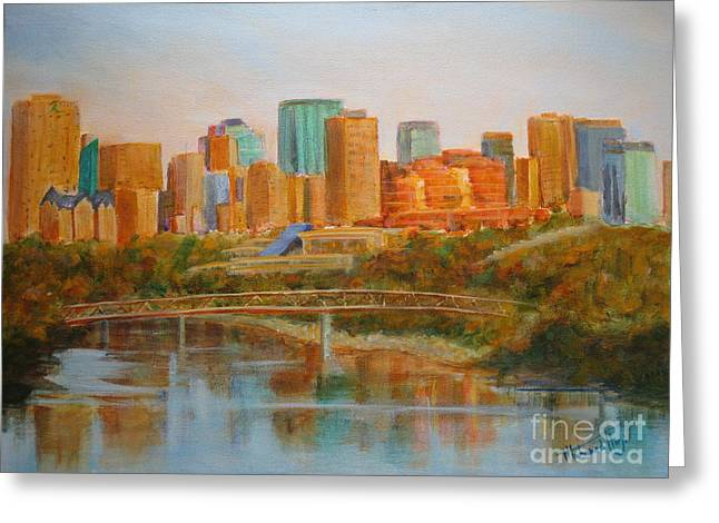 City Buildings Greeting Cards - Edmonton Reflections Greeting Card by Mohamed Hirji