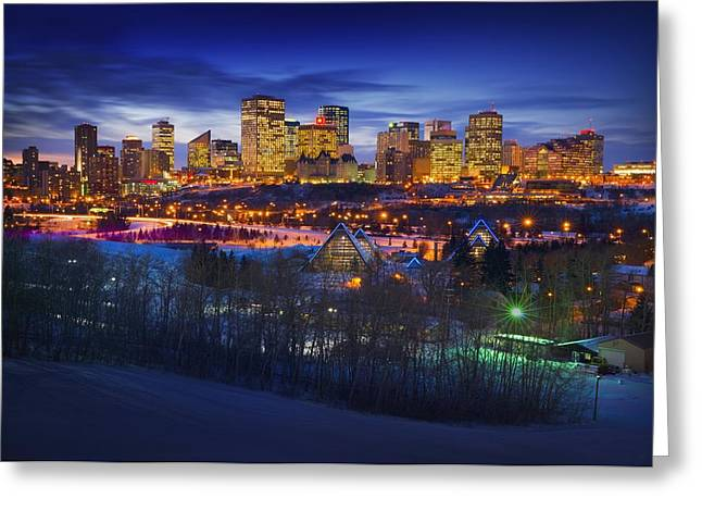 Snow Scene Landscape Greeting Cards - Edmonton Winter Skyline Greeting Card by Corey Hochachka